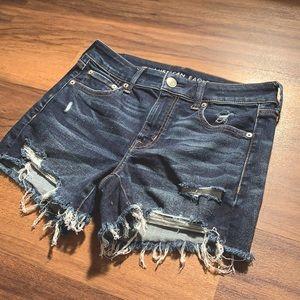 Distressed Dark Wash Denim Jean Shorts